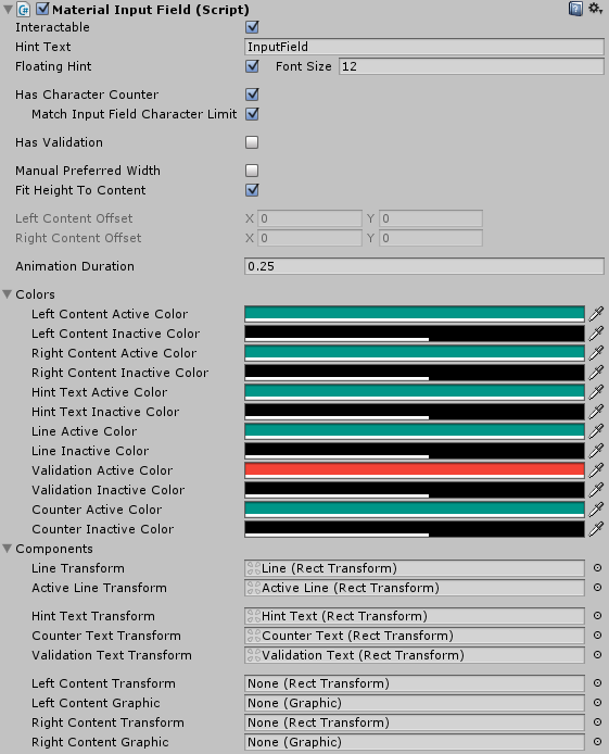 Input Fields – MaterialUI for Unity